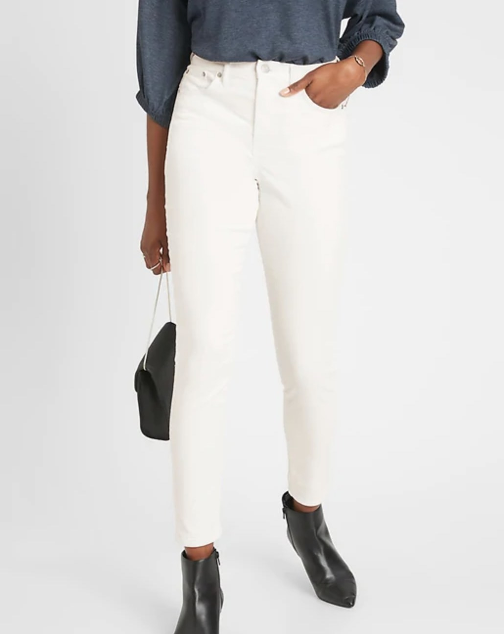 The high-rise uncut cord skinny jeans
