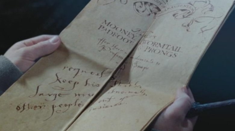 Harry taking in the info the Marauders map is showing him