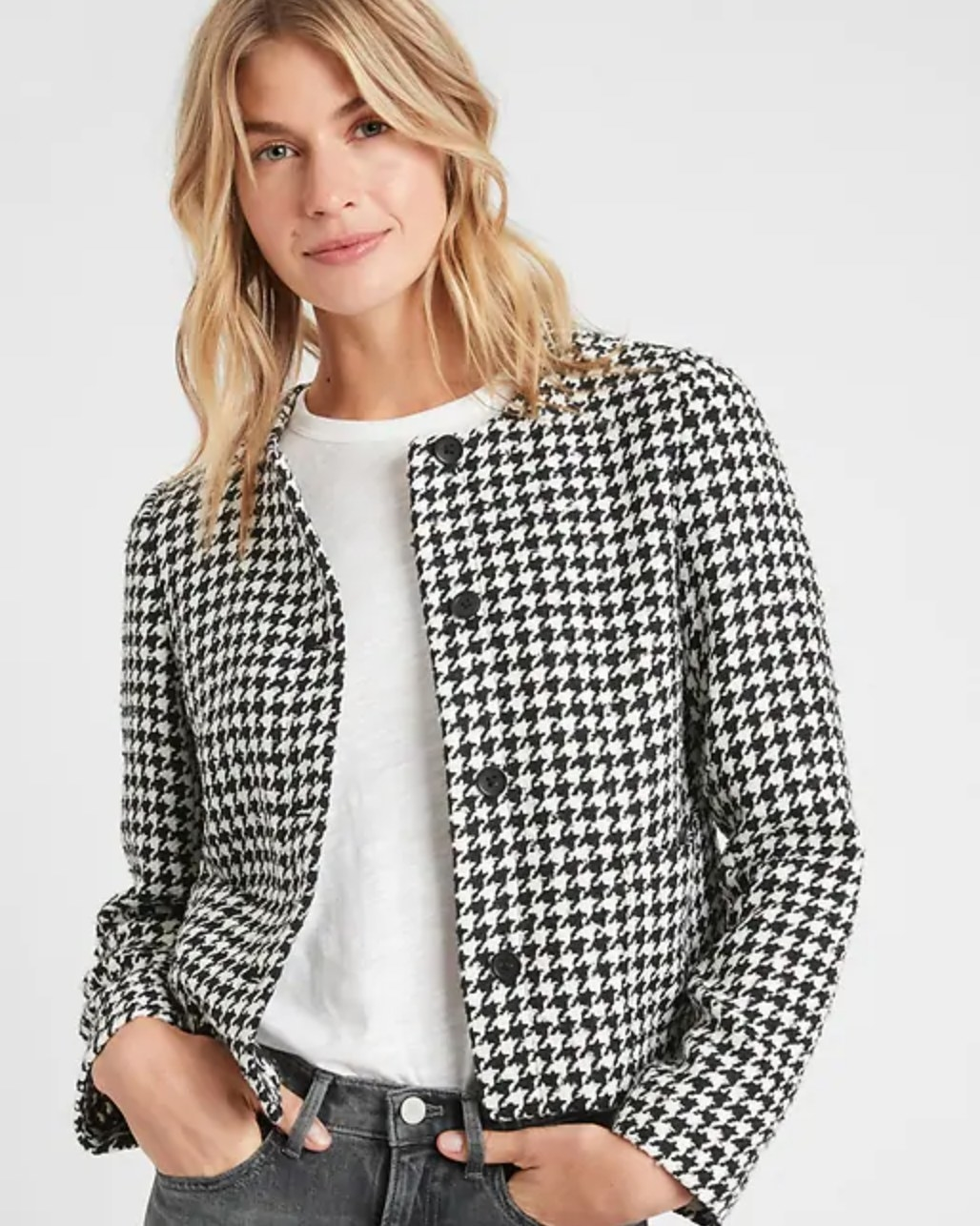 The houndstooth jacket in black/white