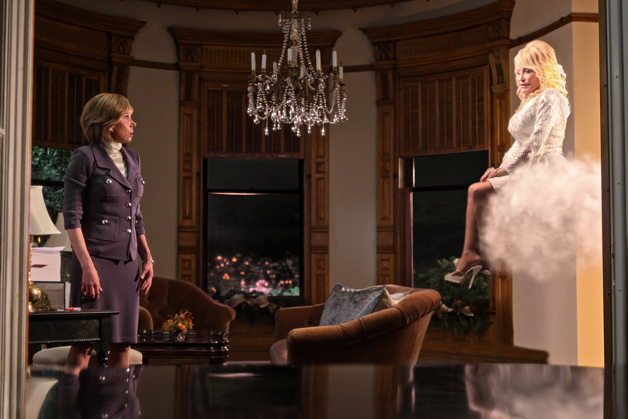 Dolly Parton and Christine Baranski in Christmas on the Square
