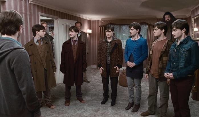 The order of the phoenix members all transformed to look like harry using polyjuice potion