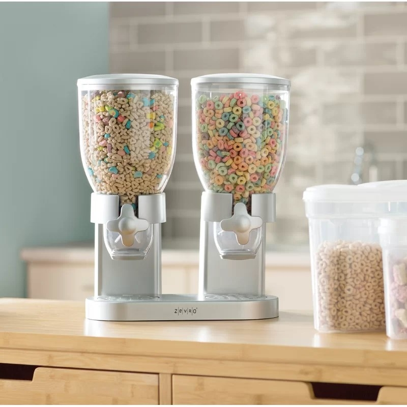 The silver cereal dispenser with a different cereal in each container