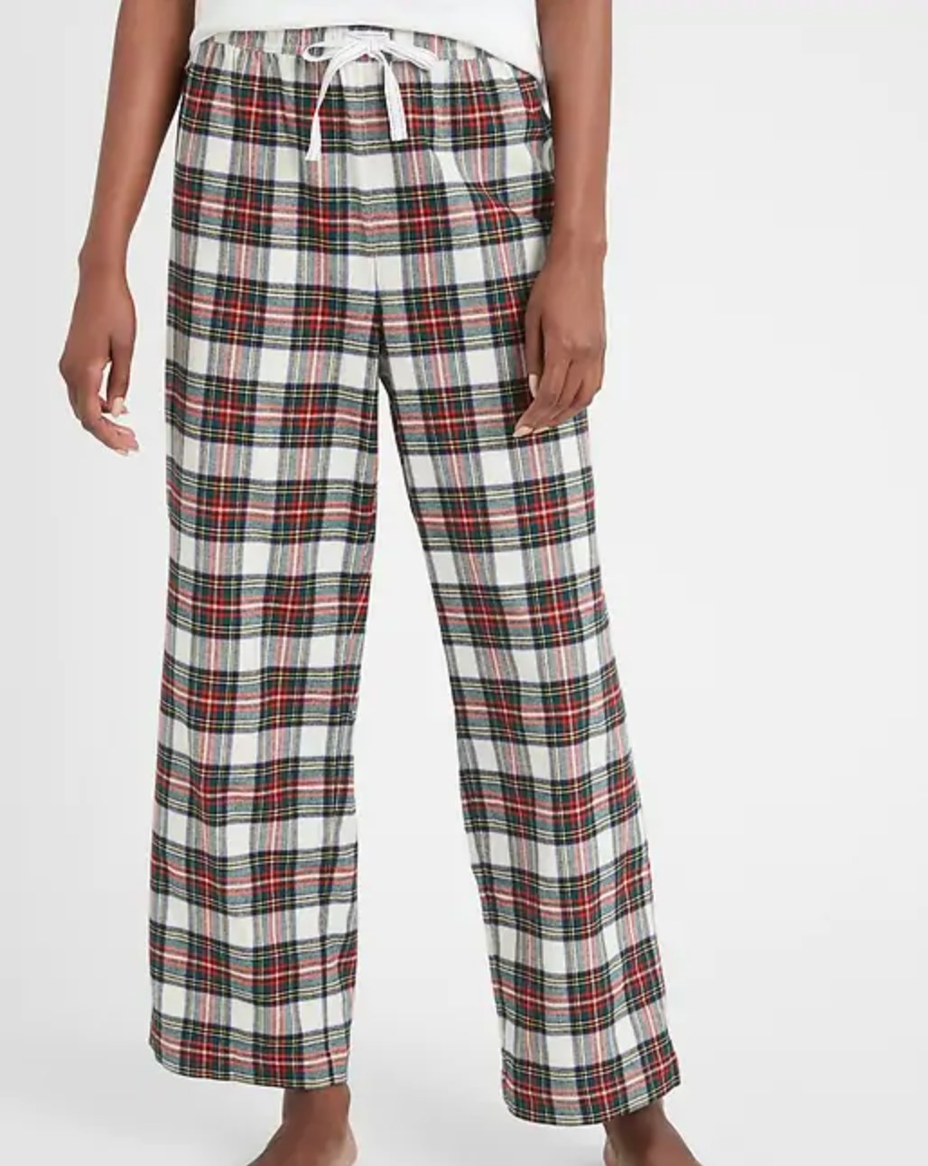 The flannel pajama bottoms in holiday plaid