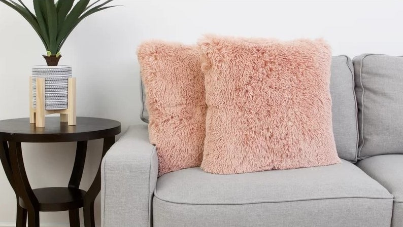 The blush colored pillows on a couch