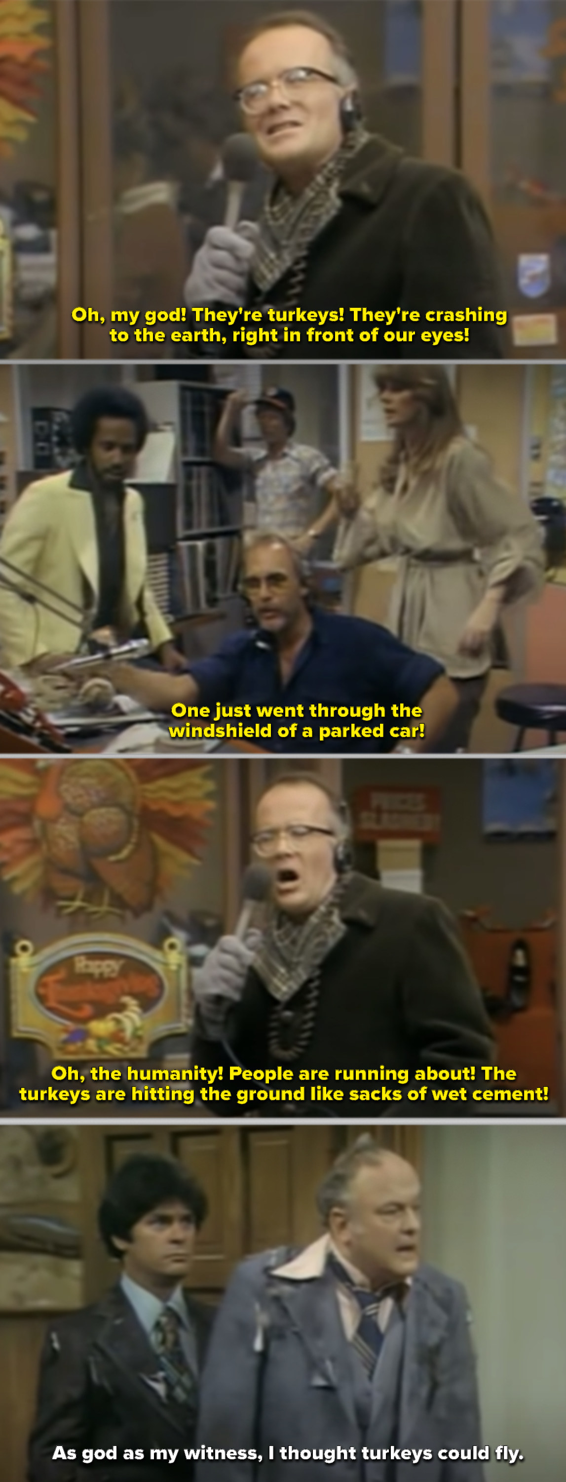 Les Nessman reporting in front of a grocery story while turkeys fall from the sky