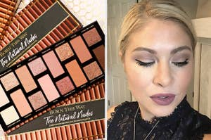 Left image: Too Faced The Natural Nudes Palette, right image: person wearing Stila liquid eyeliner