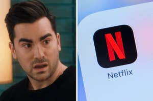"""David from """"Schitt's Creek"""" looking surprised and the Netflix phone app"""