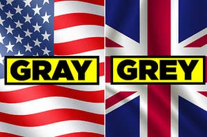 """The American flag labeled """"GRAY,"""" and the British flag labeled """"GREY"""""""