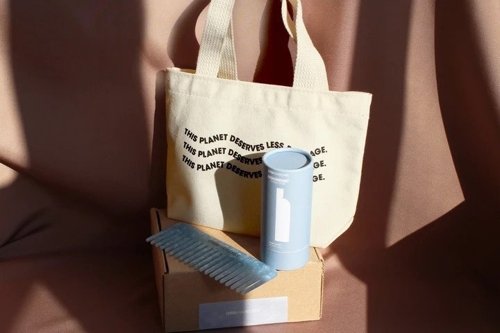 shampoo in a tube, blue comb, and canvas tote