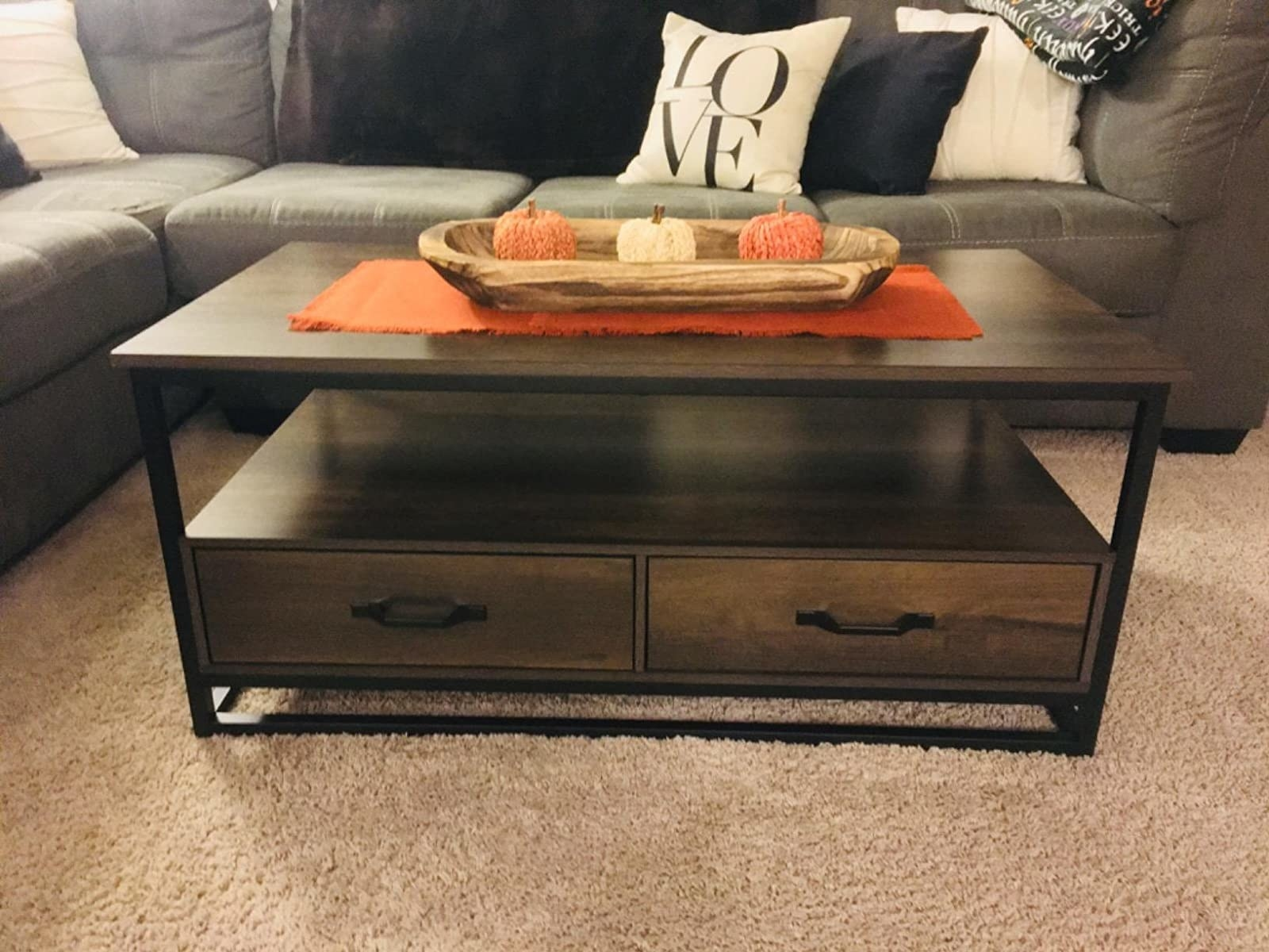 reviewer image of the homecho industrial coffee table in their living room