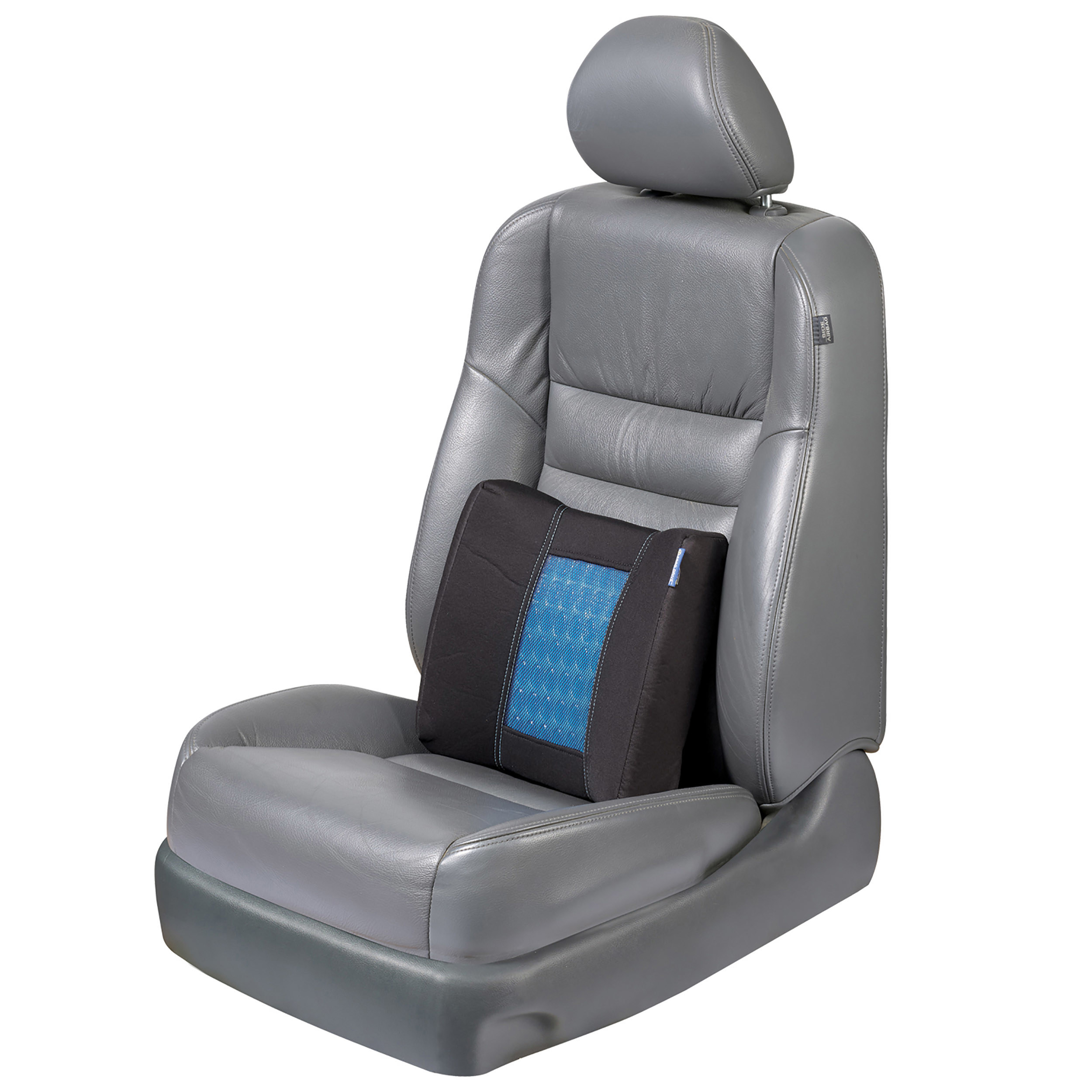 black and blue seat cushion on a car seat