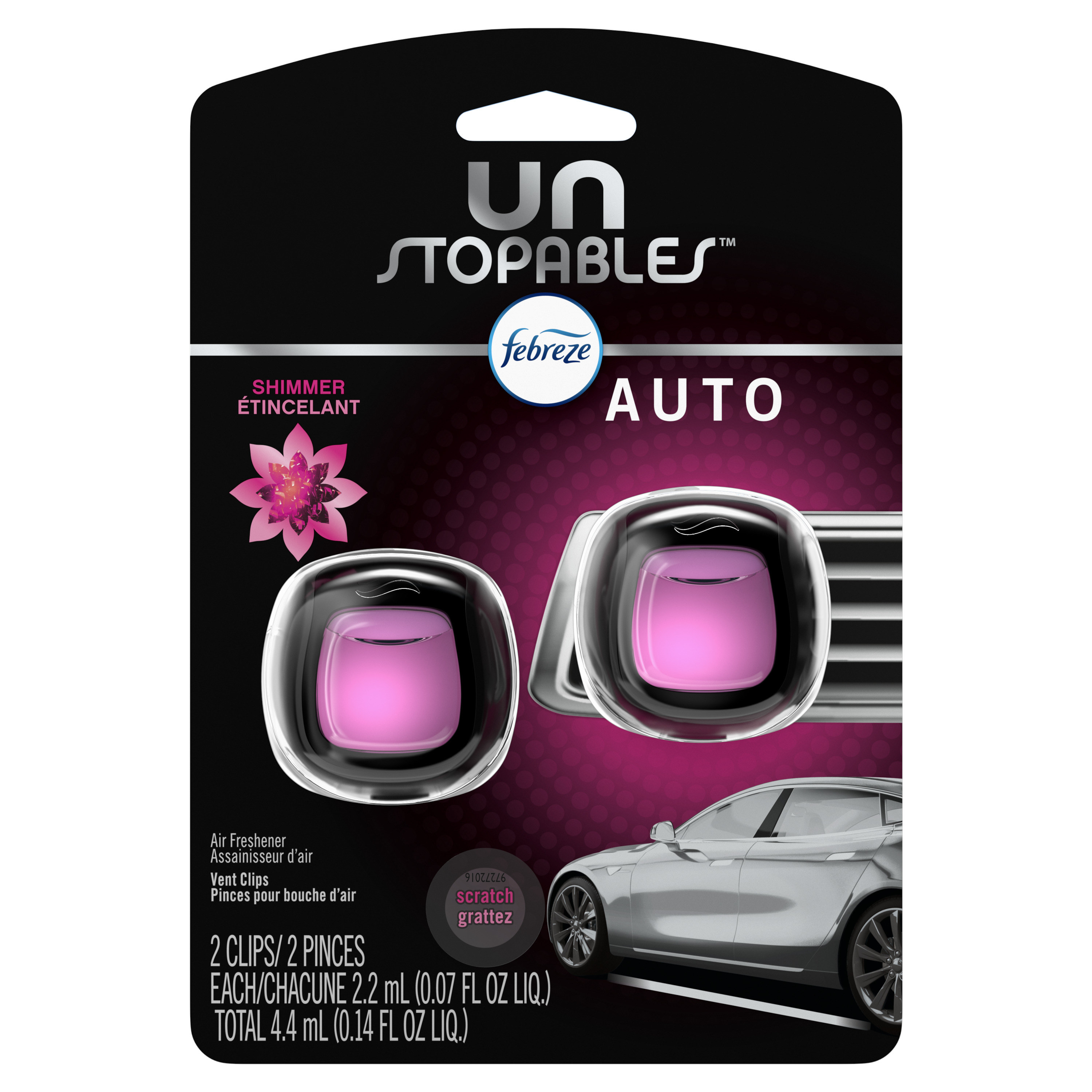 a package of pink febreze unstopables car air fresheners