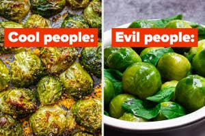 Roasted brussel sprouts labeled
