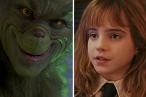 The Grinch is smiling on the left with Hermione Granger on the right