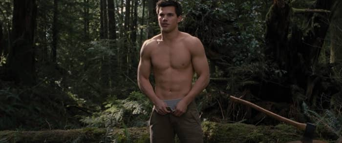 Taylor Lautner shirtless and taking his pants off in Twilight