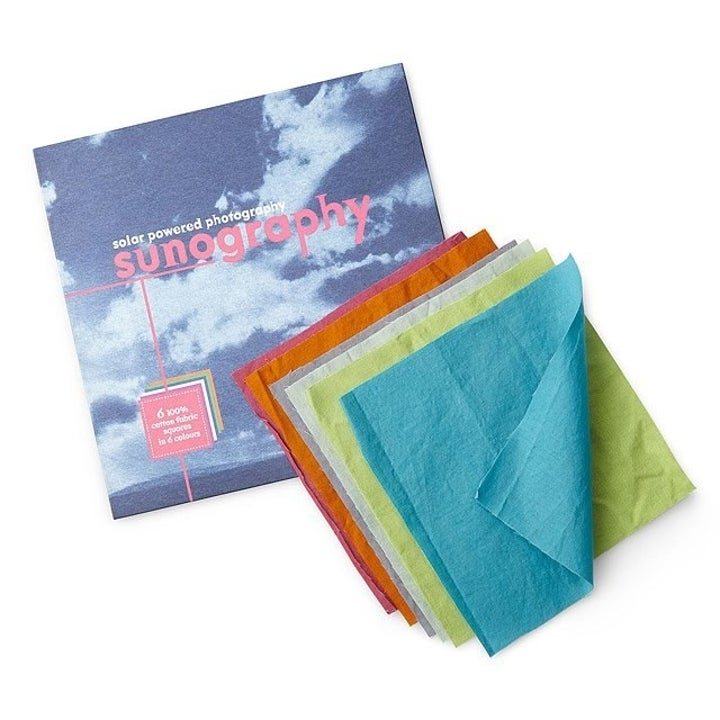 The fabric photo kit which comes with a variety of colored photosensitive fabric