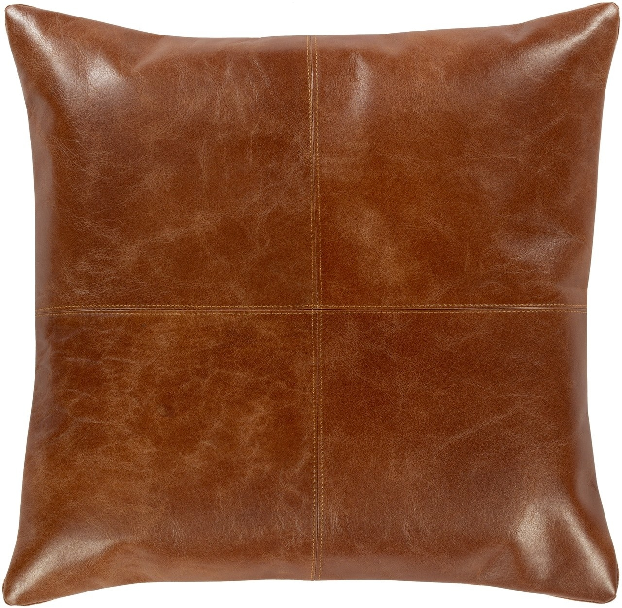 Photo of a pillow with leather cover