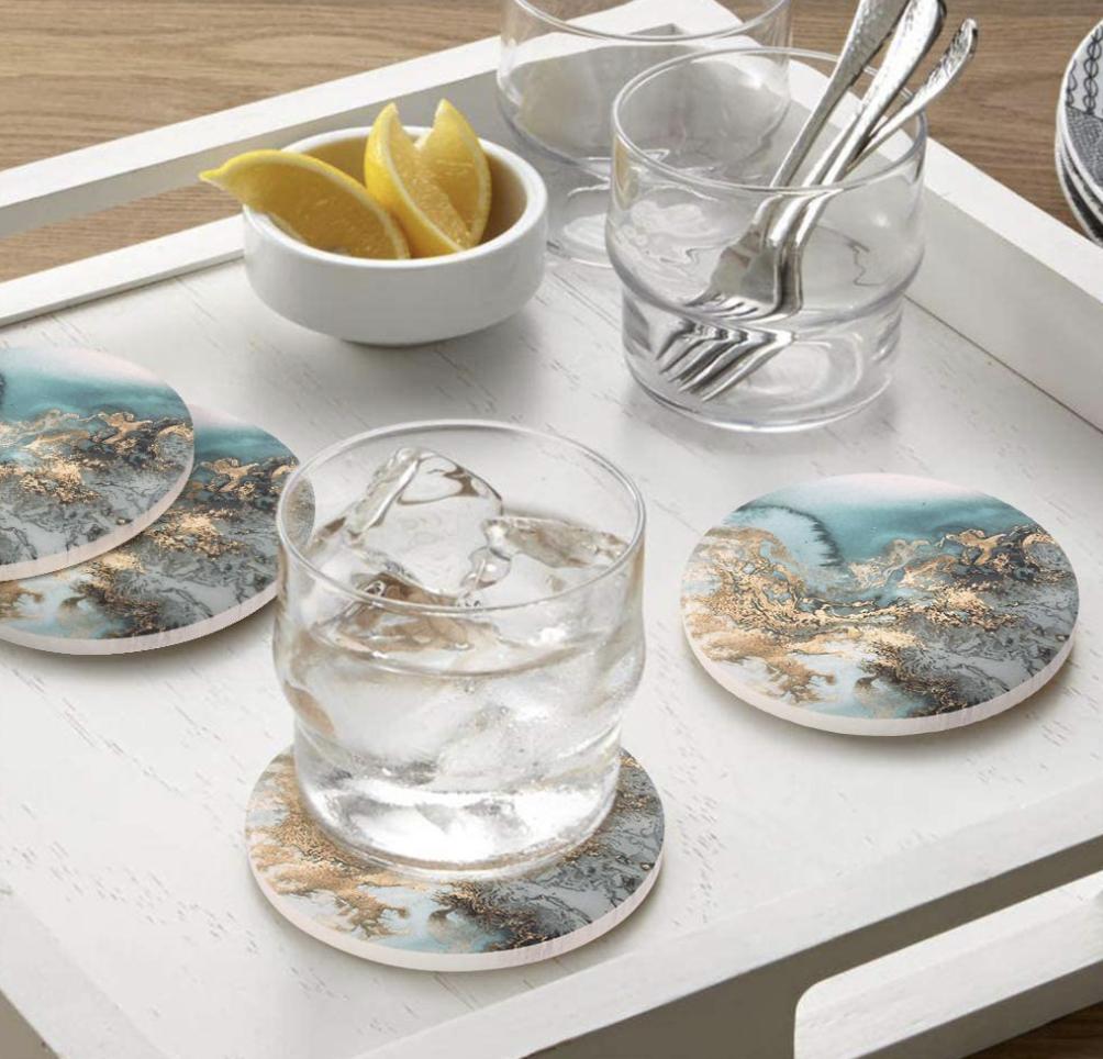 Marble pattern coaster set