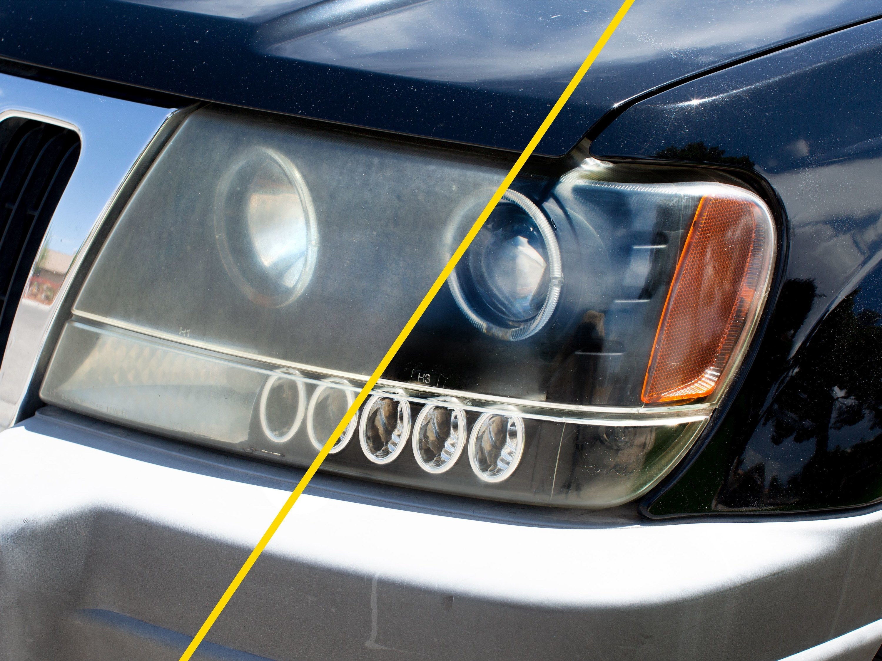 before and after image showing a foggy headlight and a clear headlight after cleaning