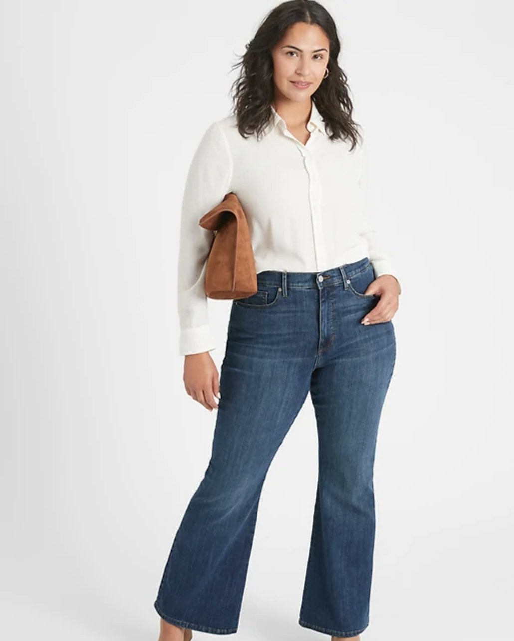The curvy high-rise flare jeans in dark wash