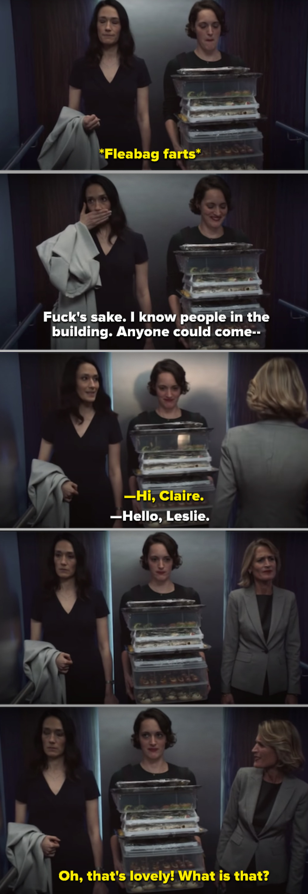 Fleabag farting in the elevator while carrying a tray of food, and one of Claire's coworkers walks in