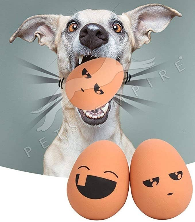 Egg shaped chew toys.