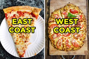 """On the left, a slice of New York-style cheese pizza on a paper plate labeled """"east coast,"""" and on the right, a pizza with a cauliflower crust topped with cheese and tomatoes labeled """"west coast"""""""