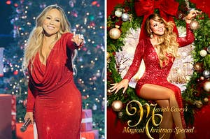 Mariah Carey and a poster for her Christmas Special