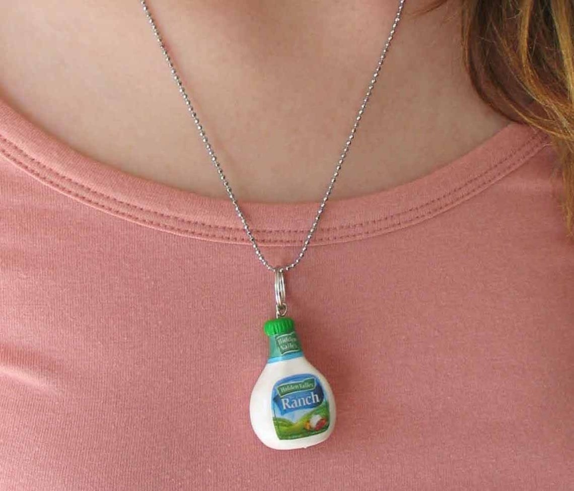 Ranch dressing charm on chain necklace