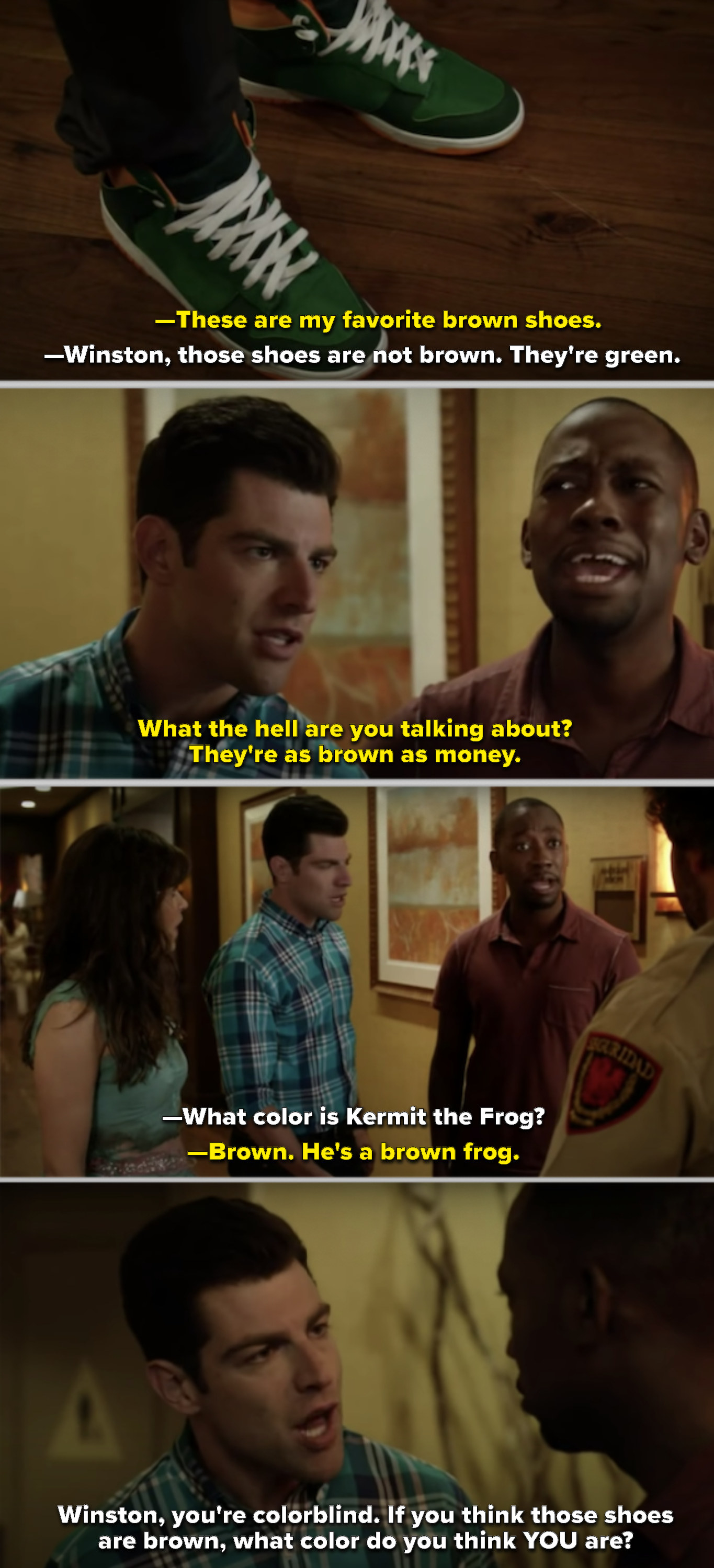 Schmidt questioning Winston's shoe color