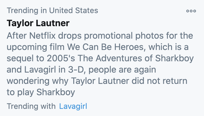 Taylor Lautner's name trending in the United States