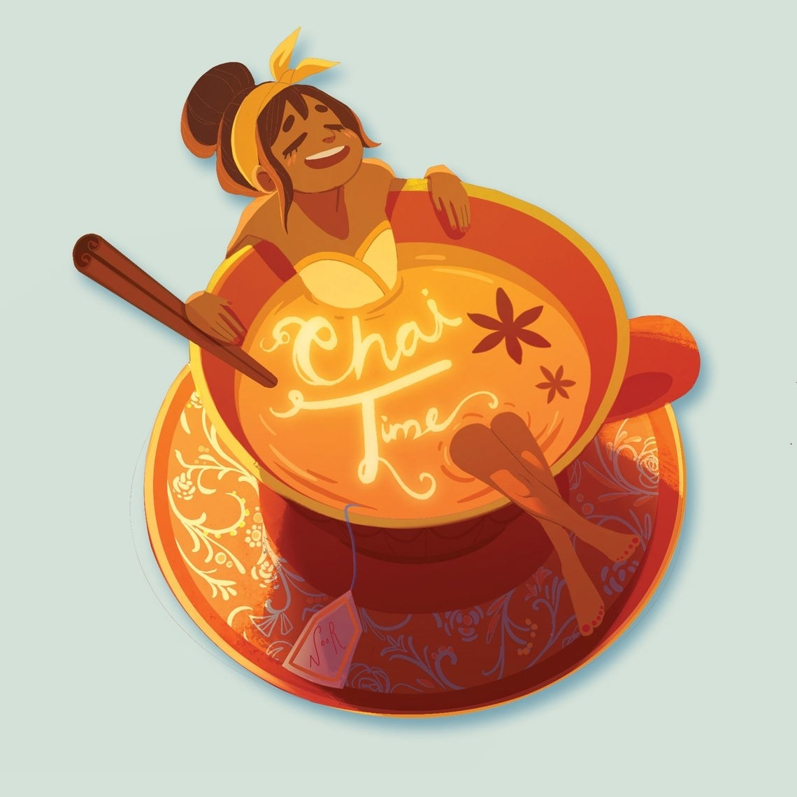 Sticker of person bathing in a teacup full of chai