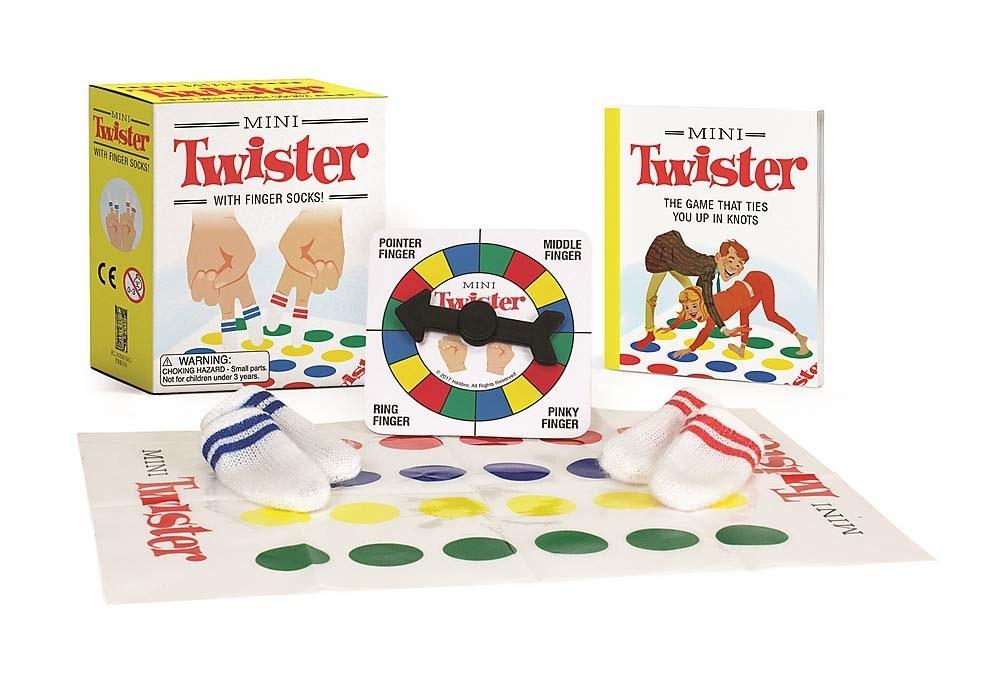 finger twister kit with mat, wheel, book, and finger socks
