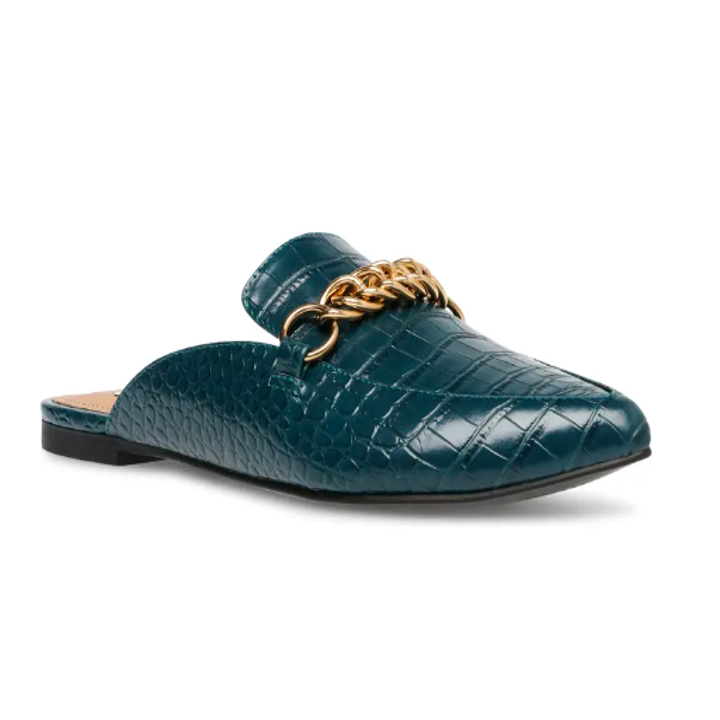 teal croc mules with a gold chain detail