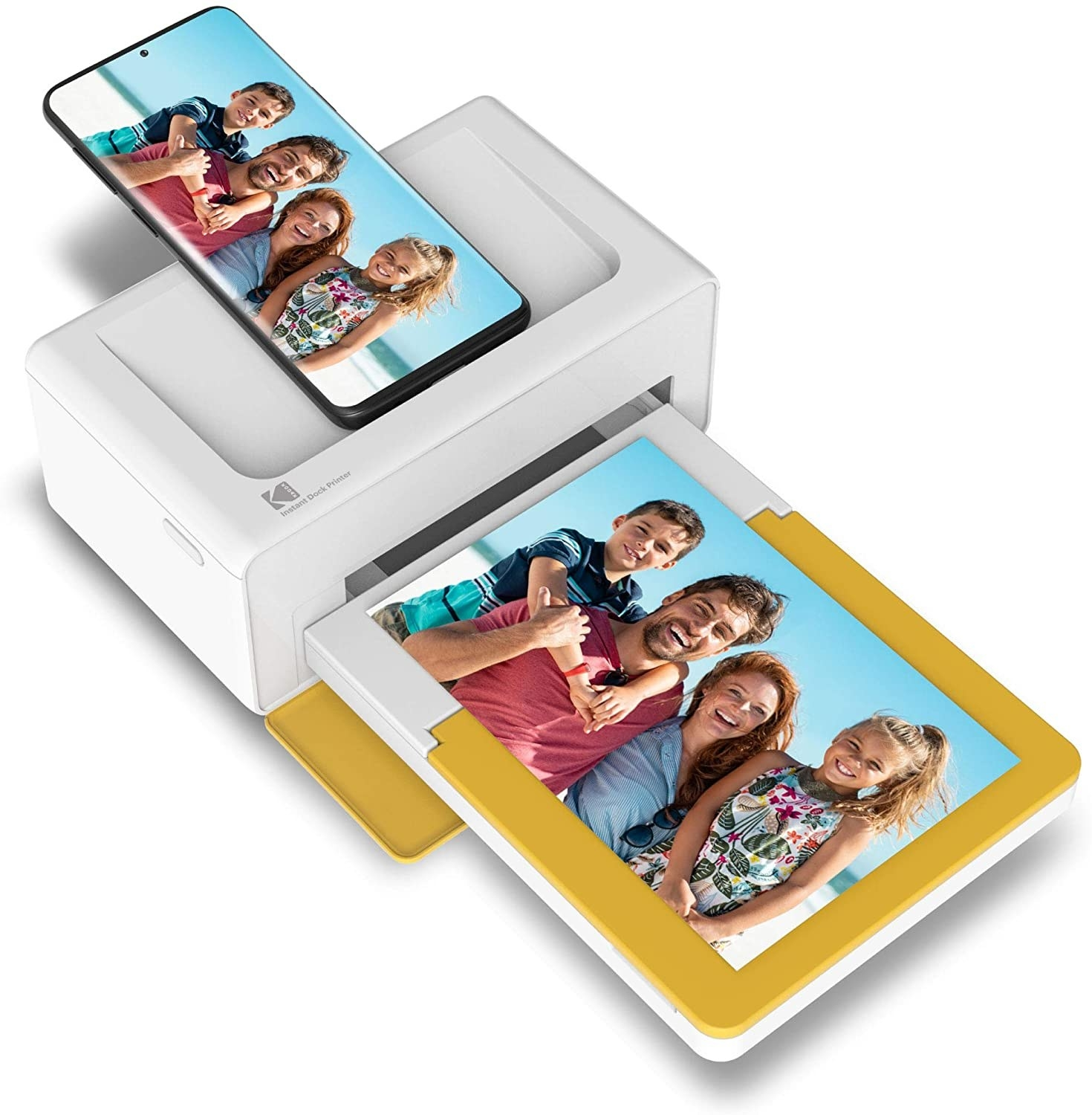 The white and yellow printer hooked up to a smartphone and printing a family photo