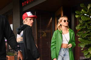 Justin Bieber and Hailey Rhode Bieber are seen on February 18, 2020 in Los Angeles, California