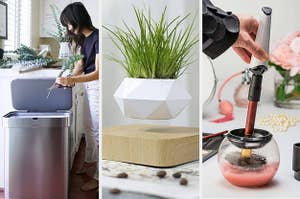 Three panels, from left to right, showing a open trash can with a reviewer cutting plant stems into it, a white planter levitating over a wooden base, and a hand dipping a makeup brush with a spinner device attached into a cleaning solution