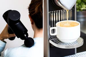 Massage gun massaging a person's shoulder, and an espresso machine pouring coffee