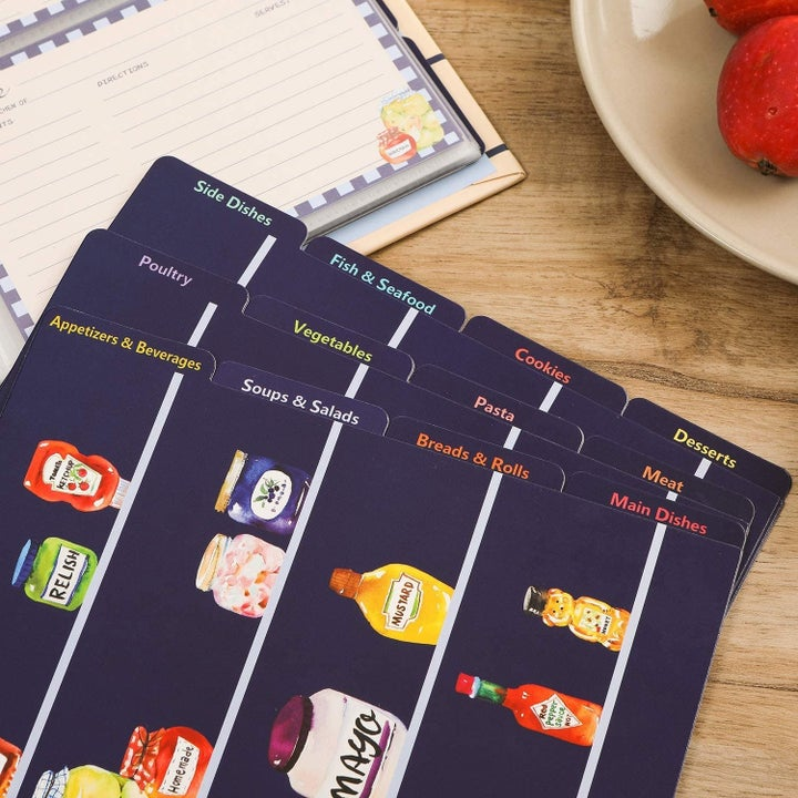 Divider cards with matching food illustrations