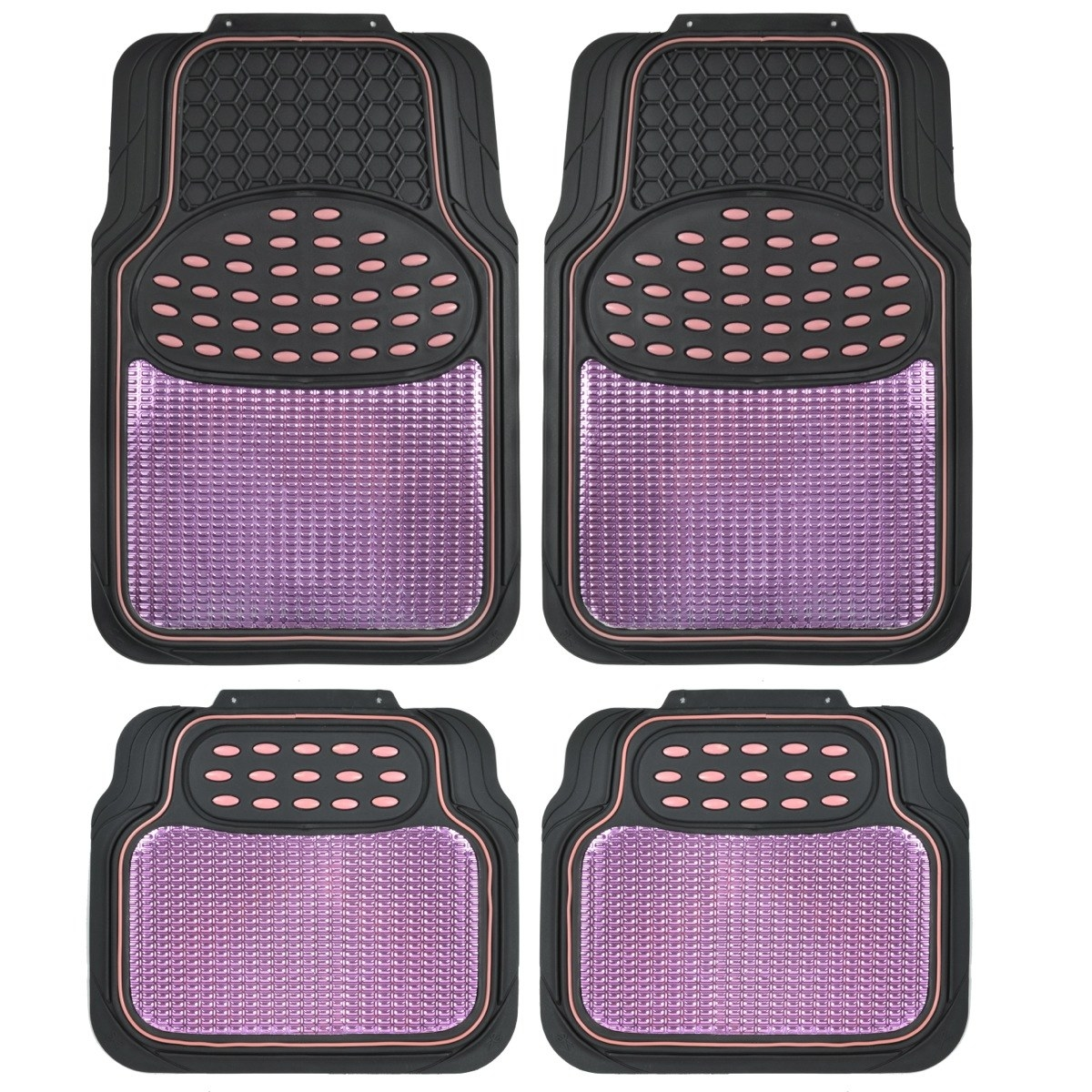 four pink car mats to place on the bottom of your car