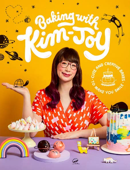 Book cover with author in front of several of her cute desserts