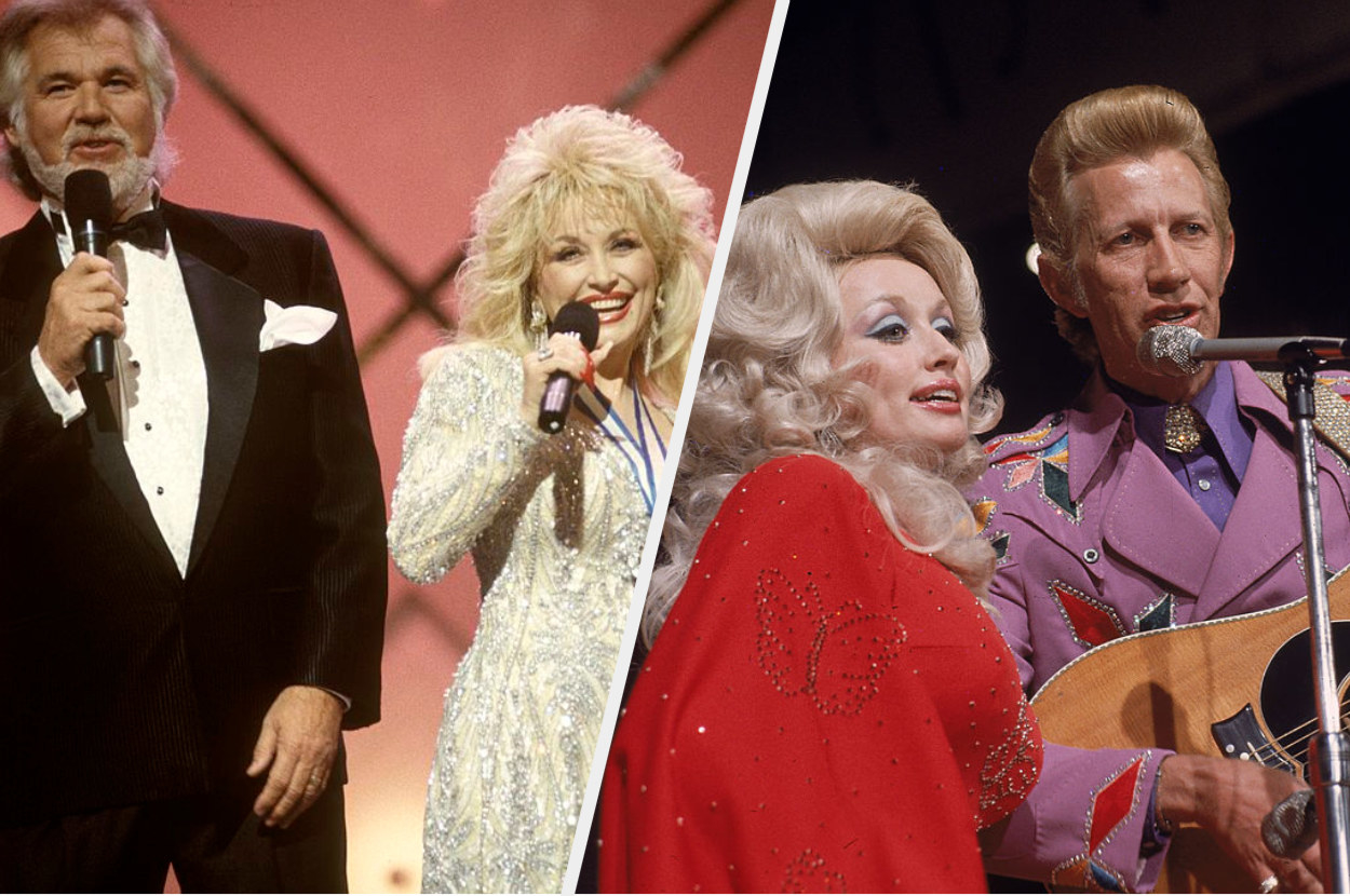 Dolly Parton and Kenny Rogers side by side with Dolly Parton and Porter Wagoner