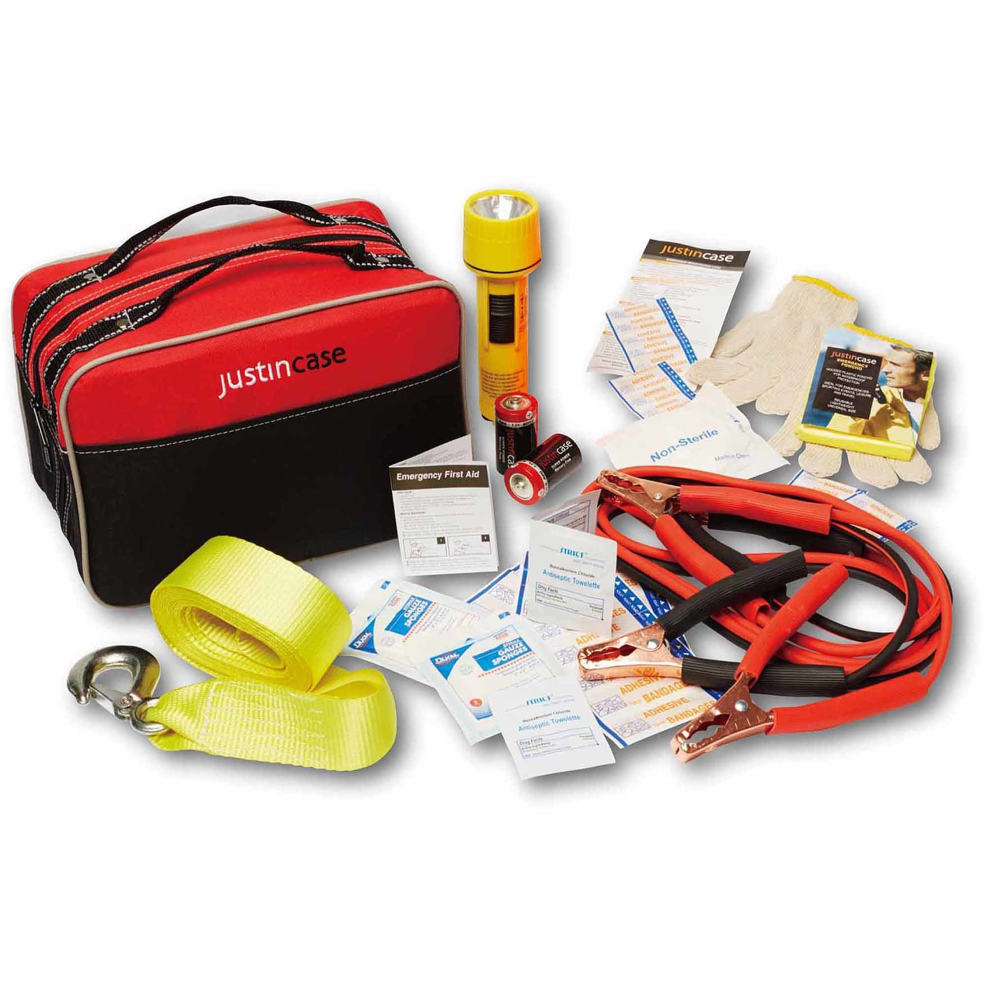 car safety kit with all of the contents lying around the carrying case