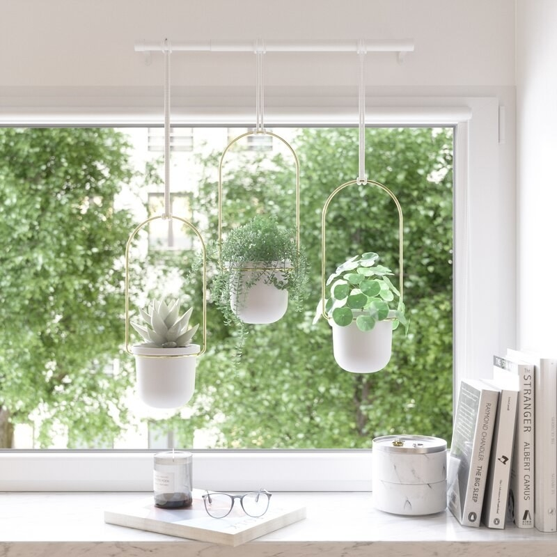 The three white hanging planters outside a windowsill