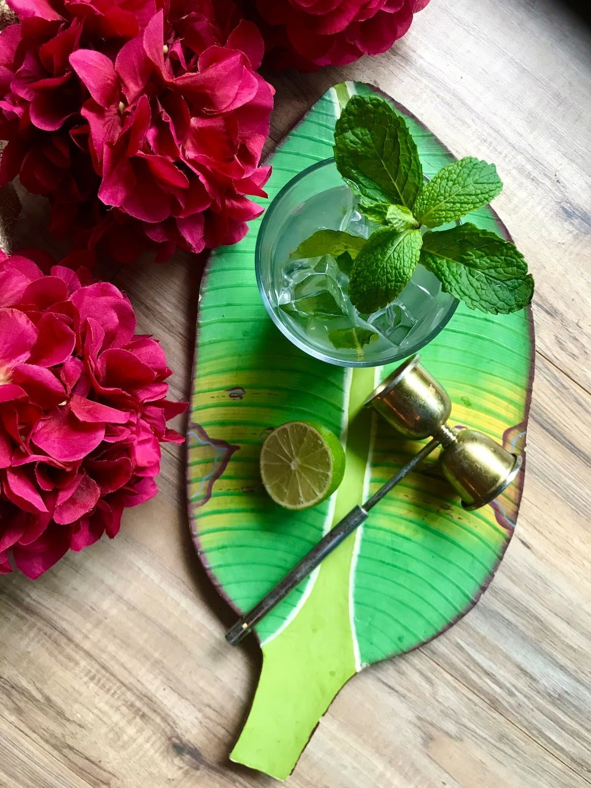 Mojito on a serving tray