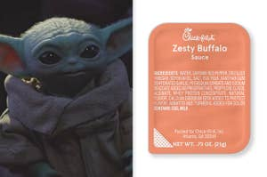 Split Image: Baby yoda on the left and zesty buffalo sauce on the right