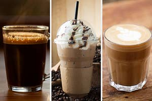 On the left, a black coffee, in the middle, a Frappuccino, and on the right, a latte