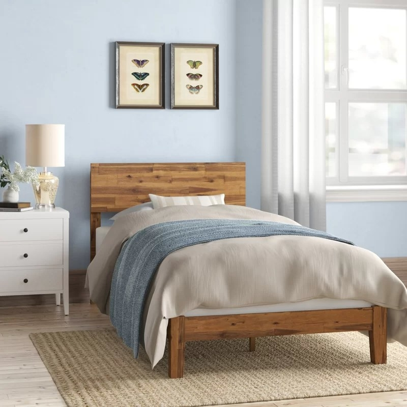 The bed in a bedroom in a twin size