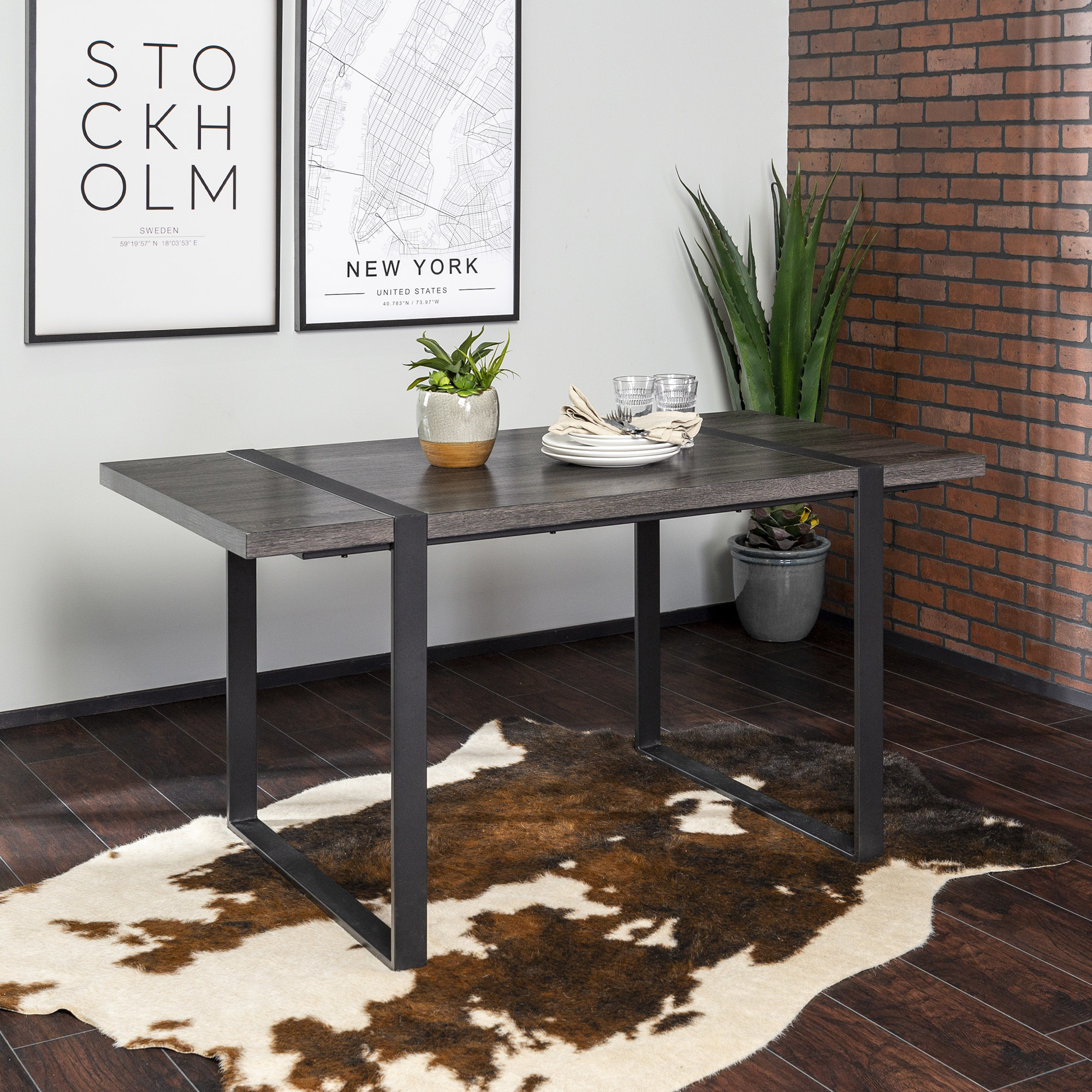 The grey table with metal legs