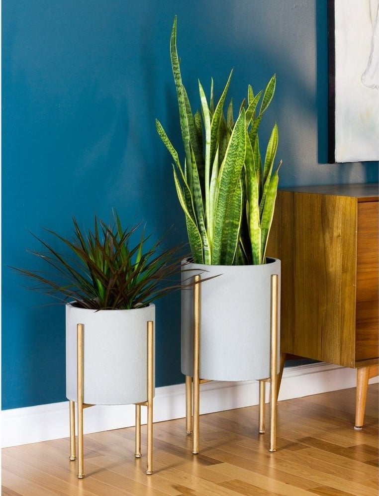 Two large gray planters with gold legs